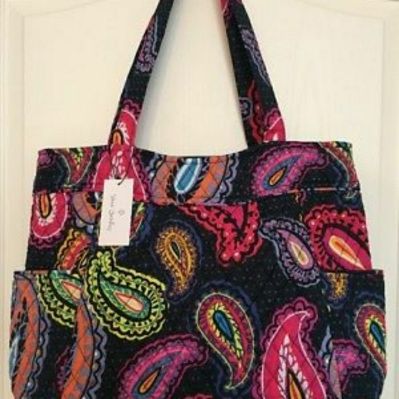 f251afa9f1 NWT VERA BRADLEY PLEATED TOTE in TWILIGHT PAISLEY